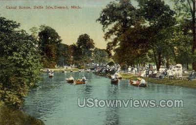 Canal Scene, Belle Isle - Detroit, Michigan MI Postcard