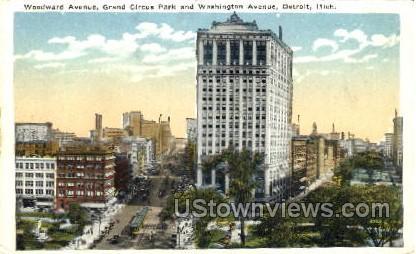 Grand Circus Park and Washington Avenue - Detroit, Michigan MI Postcard