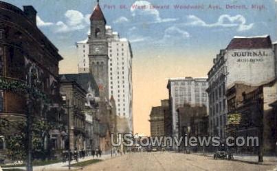 Fort St. West Toward Woodward Ave. - Detroit, Michigan MI Postcard