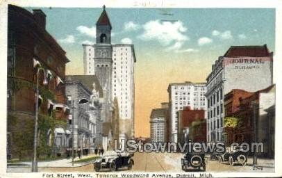 Fort St. West Toward Woodward Ave. - Detroit, Michigan MI Postcard