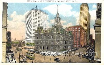 City Hall and Griswold St. - Detroit, Michigan MI Postcard