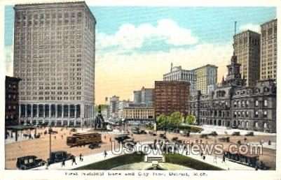 First National Bank and City Hall - Detroit, Michigan MI Postcard