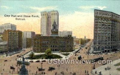City Hall and Dime Bank - Detroit, Michigan MI Postcard