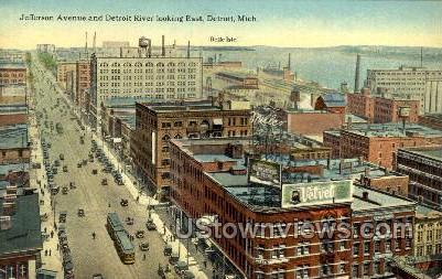 Jefferson Ave. and Detroit River - Michigan MI Postcard