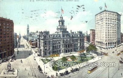 City Hall and Majestic Building - Detroit, Michigan MI Postcard