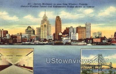 Detroit-Windsor Tunnel  - Michigan MI Postcard