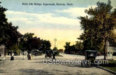 Belle Isle Bridge Approach - Detroit, Michigan MI Postcard