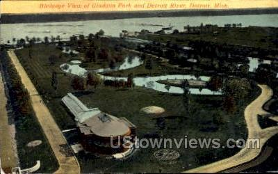 Gladwin Park and Detroit River - Michigan MI Postcard