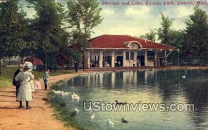 Pavilion and Lake, Palmer Park - Detroit, Michigan MI Postcard