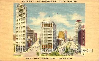 Woodward Ave. and Washington Blvd. - Detroit, Michigan MI Postcard