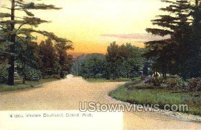 Western Boulevard - Detroit, Michigan MI Postcard