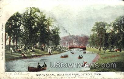 Grand Canal, Belle Isle - Detroit, Michigan MI Postcard