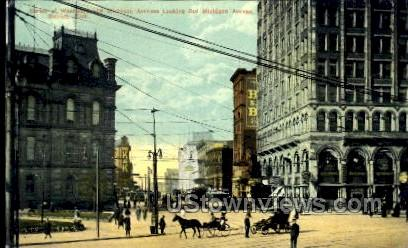 Woodward and Michigan Avenues - Detroit Postcard