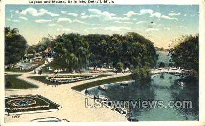 Lagoon and Mound, Belle Isle - Detroit, Michigan MI Postcard