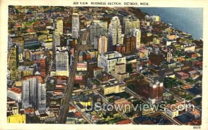 Business Section - Detroit, Michigan MI Postcard