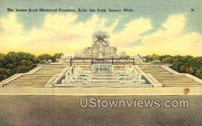 The James Scott Memorial Fountain - Detroit, Michigan MI Postcard