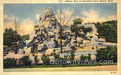 Baboon Rock in Zoological Park - Detroit, Michigan MI Postcard