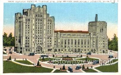 New Masonic Temple - Detroit, Michigan MI Postcard