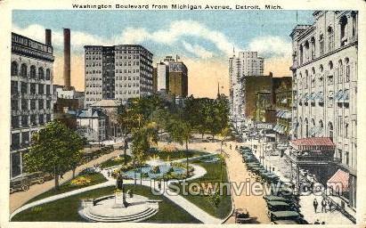 Washington Boulevard - Detroit, Michigan MI Postcard