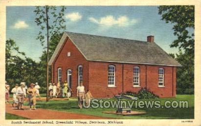 Scotch Settlement School - Detroit, Michigan MI Postcard