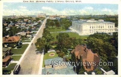 Cass Ave., Public Library - Detroit, Michigan MI Postcard