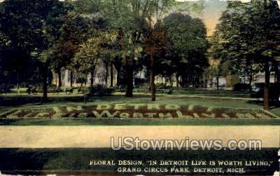 Floral Design, Grand Circus Park - Detroit, Michigan MI Postcard