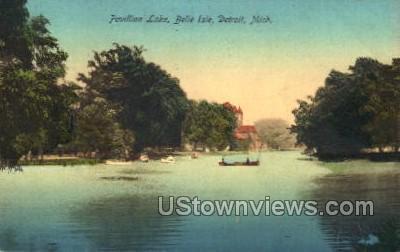 Pavillion Lake, Belle Isle - Detroit, Michigan MI Postcard