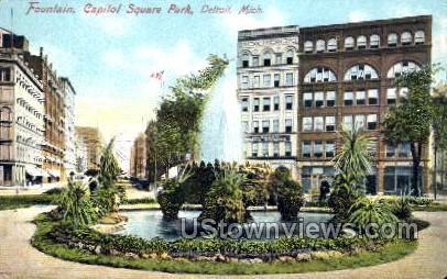 Fountain, Capitol Square Park - Detroit, Michigan MI Postcard