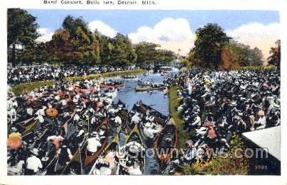 Band Concert, Belie Isle - Detroit, Michigan MI Postcard