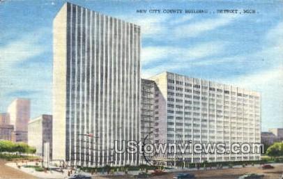 New City County Building - Detroit, Michigan MI Postcard