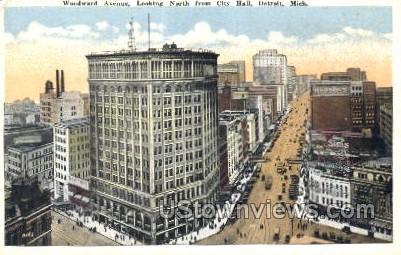 Woodward Ave. - Detroit, Michigan MI Postcard