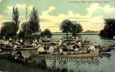 Canoeing, Belle Isle - Detroit, Michigan MI Postcard