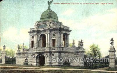 Waterworks Park, Hulbert Memorial - Detroit, Michigan MI Postcard