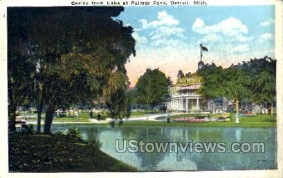 Casino from Lake at Palmer Park - Detroit, Michigan MI Postcard