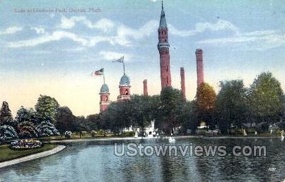 Lake at Gladwin Park - Detroit, Michigan MI Postcard