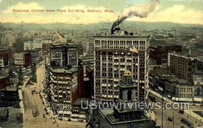 Business Center from Ford Building - Detroit, Michigan MI Postcard