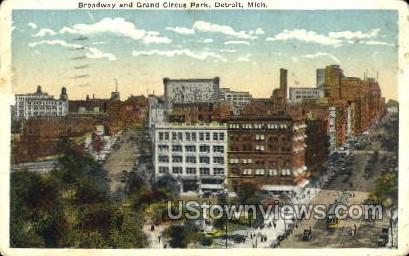 Broadway and Grand Circus Park - Detroit, Michigan MI Postcard