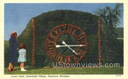 Floral Clock, Greenfield Village - Detroit, Michigan MI Postcard