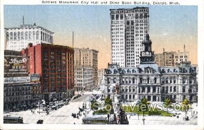 Soldiers Monument City Hall  - Detroit, Michigan MI Postcard