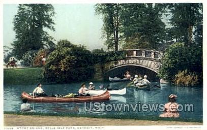 Stone Bridge, Belle Isle - Detroit, Michigan MI Postcard