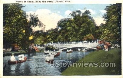 Scene at Canal, Belle Isle Park - Detroit, Michigan MI Postcard