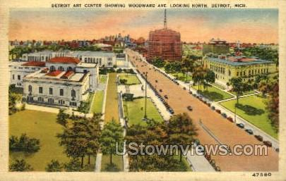 Detroit Art Center Showing Woodward Ave. - Michigan MI Postcard