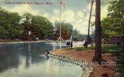 Lake in Clark's Park - Detroit, Michigan MI Postcard
