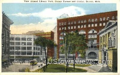 Library Park - Detroit, Michigan MI Postcard