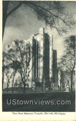 The New Masonic Temple - Detroit, Michigan MI Postcard