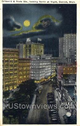 Griswold and State Streets - Detroit, Michigan MI Postcard