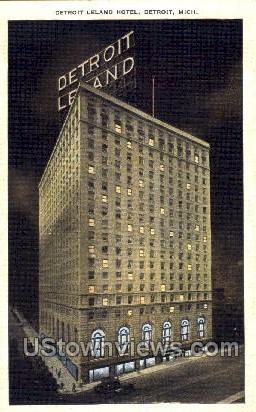 Detroit Leland Hotel - Michigan MI Postcard