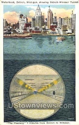 Waterfront, Detroit-Windsor Tunnel - Michigan MI Postcard