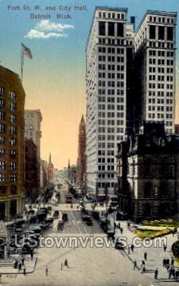 Fort St. W. and City Hall - Detroit, Michigan MI Postcard