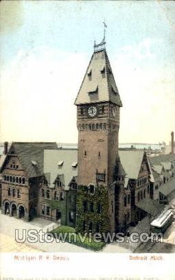 Michigan R. R. Depot - Detroit Postcard